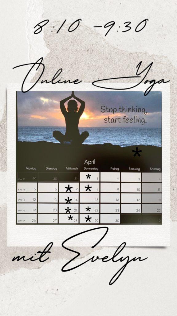 onlinekalender yoga mit Evelyn lyn yoga