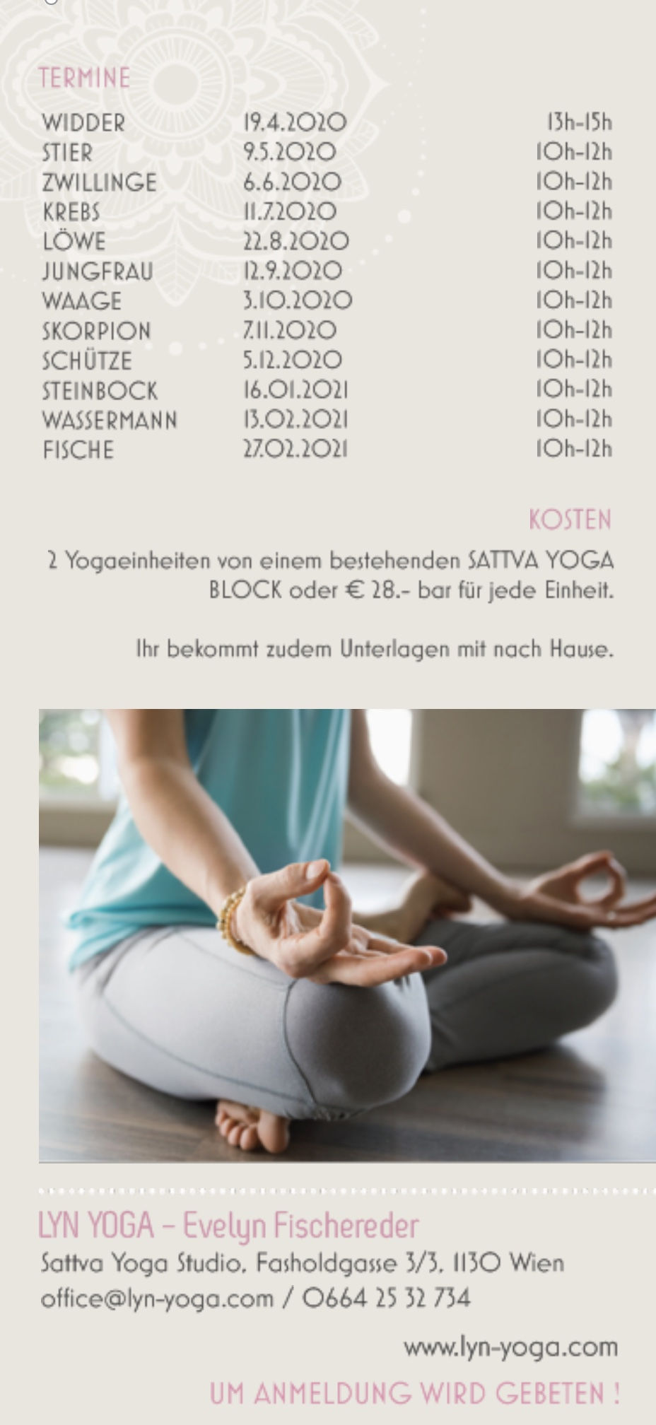 Astrologie und Yoga Workshops 2020 im Sattva Yoga Studio