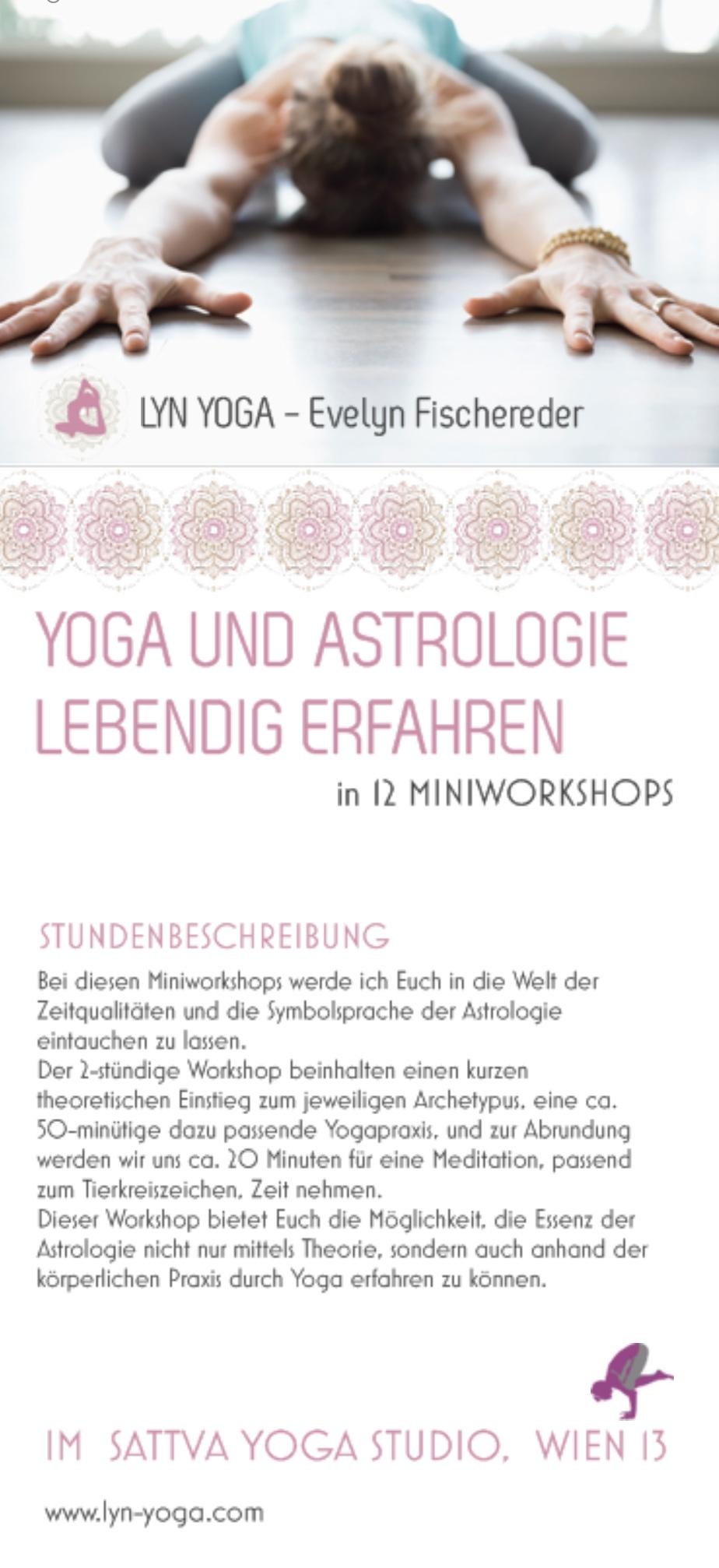 Yoga und Astrologie Workshop im Sattva Yoga Studio Wien von Lyn Yoga