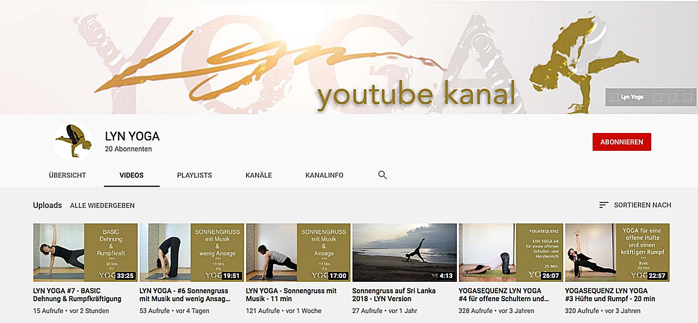 LYN YOGA YouTube-Kanal von Evelyn LYN Vysher