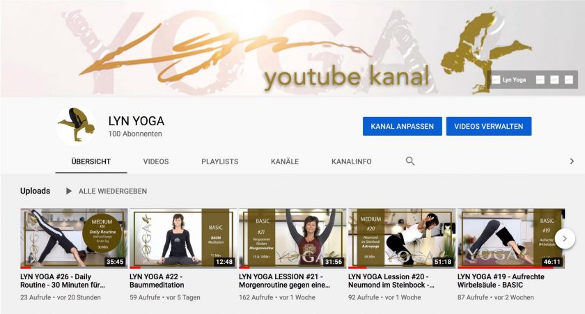 LYN YOGA YouTube Kanal – neue Videos